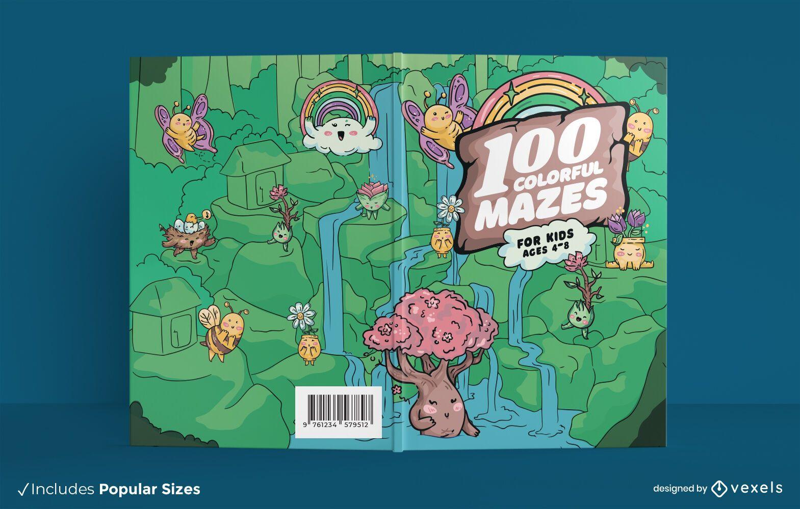 Colorful mazed book cover design