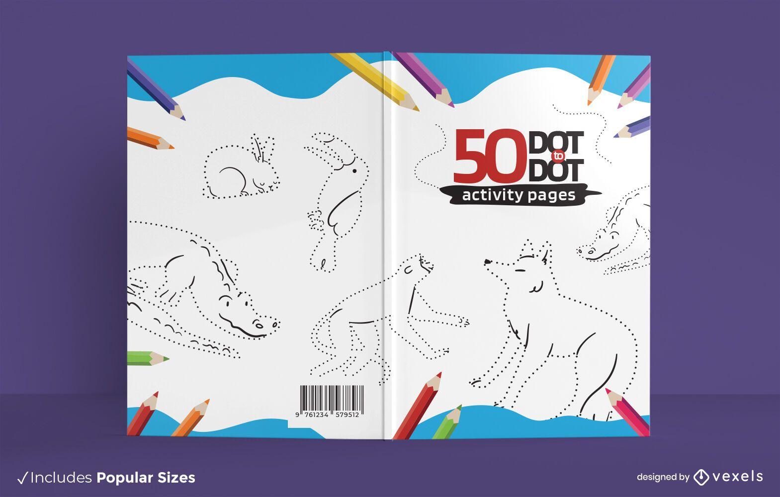 Animales punto a punto diseño de portada de libro.