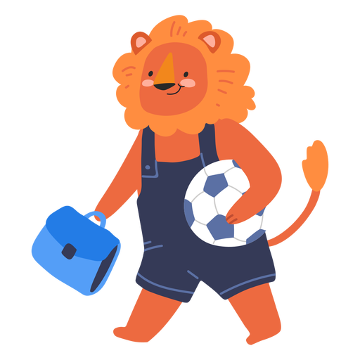 Cute lion with a ball