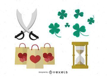 Vetor de sacos de compras e trevos de coração