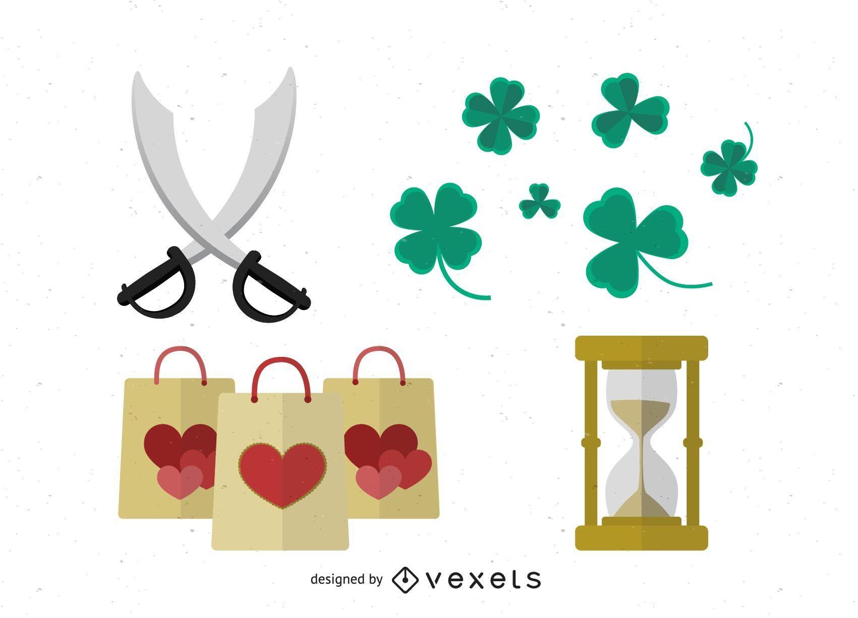 Vector de tréboles y bolsas de la compra de corazón