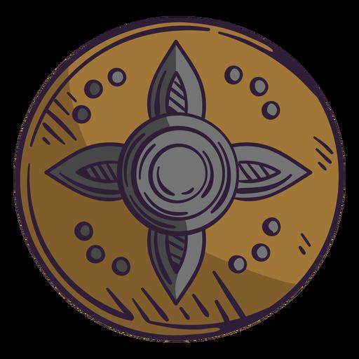 Round wooden shield color stroke