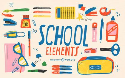 Back to school supply element set