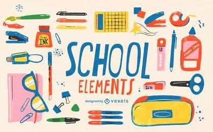 Conjunto de elementos de suministros de regreso a la escuela