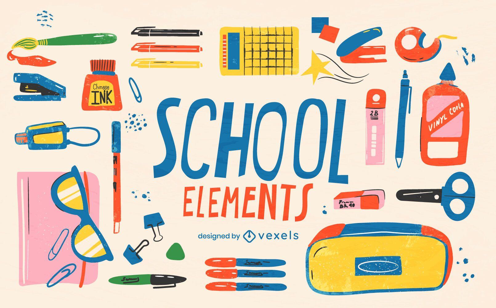 Back to school supply element set