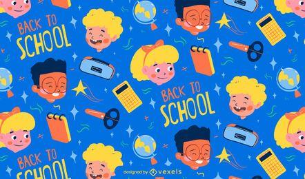 Diseño de patrón de personajes de dibujos animados de regreso a la escuela