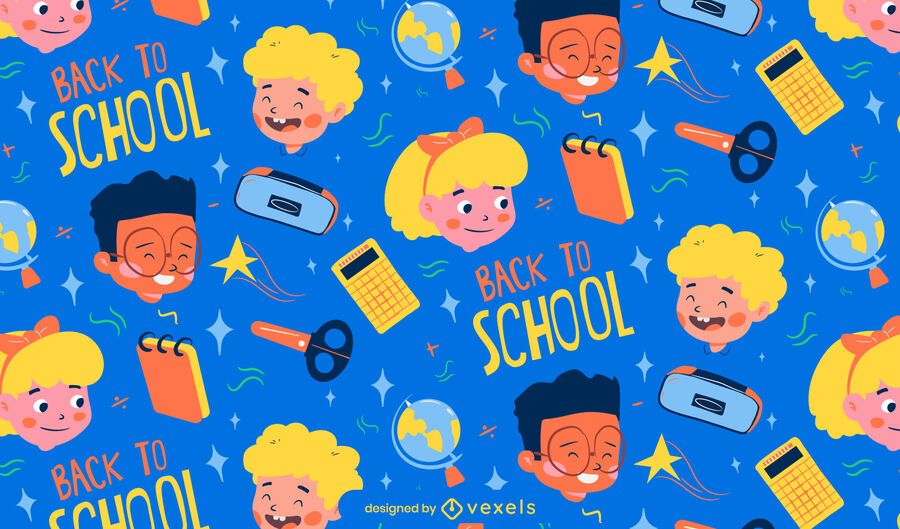 Back to school cartoon characters pattern design