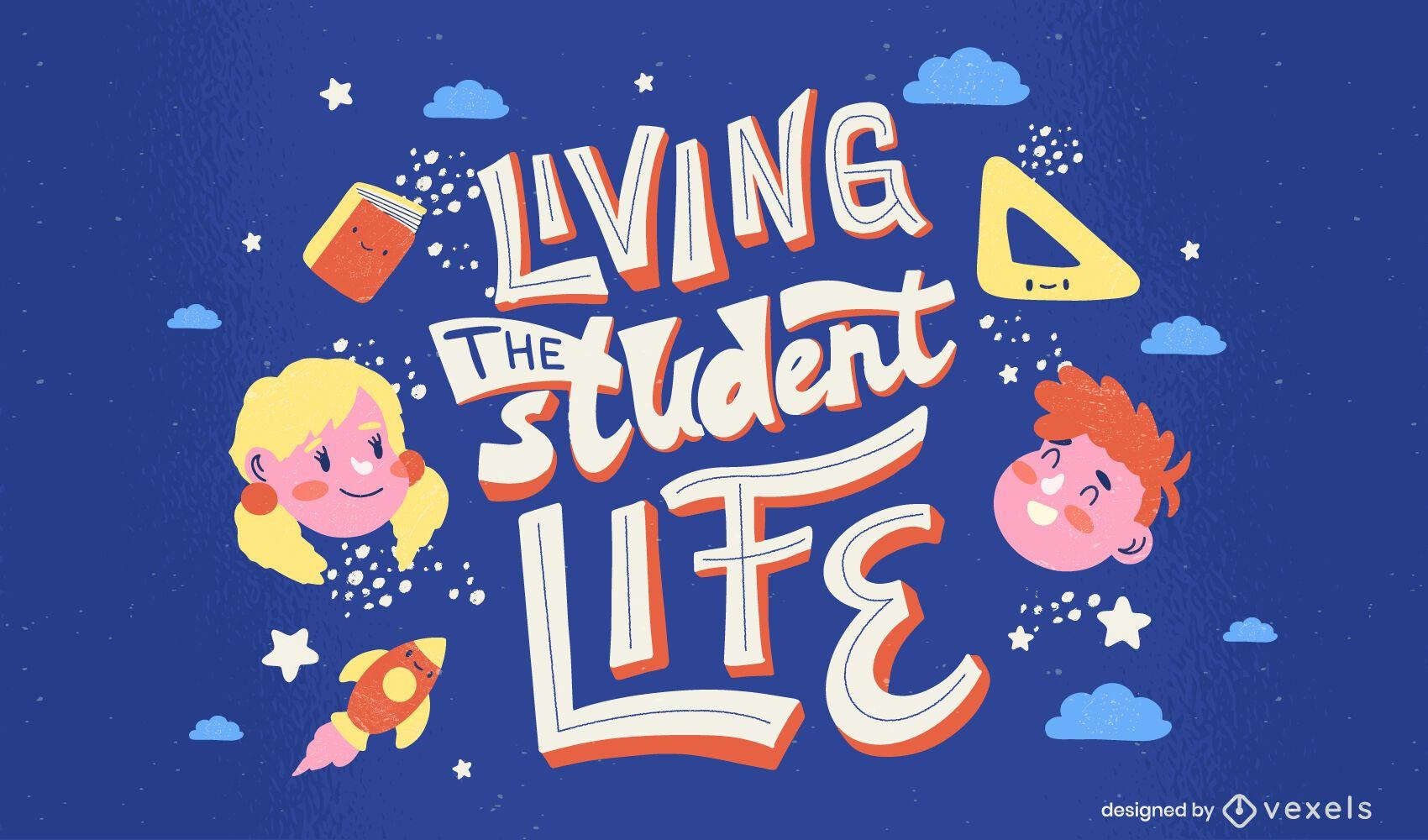 Diseño de letras de la vida estudiantil de la escuela