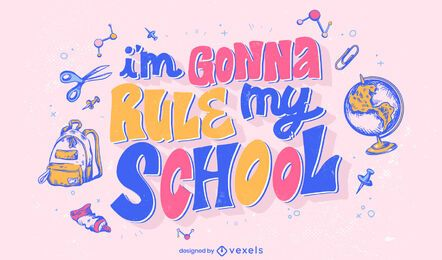 Citação da escola, desenho de letras coloridas