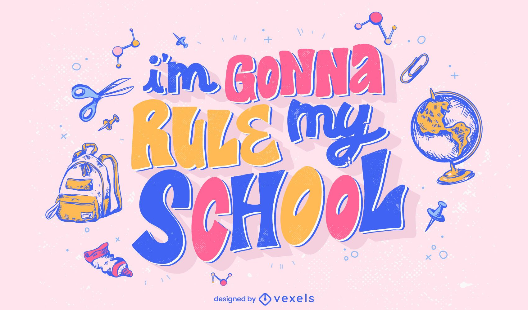 Diseño de letras coloridas de cita escolar