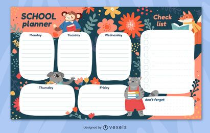 Diseño de planificador semanal floral escolar.