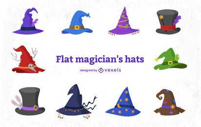 Conjunto de elementos de sombrero mágico estilo mago