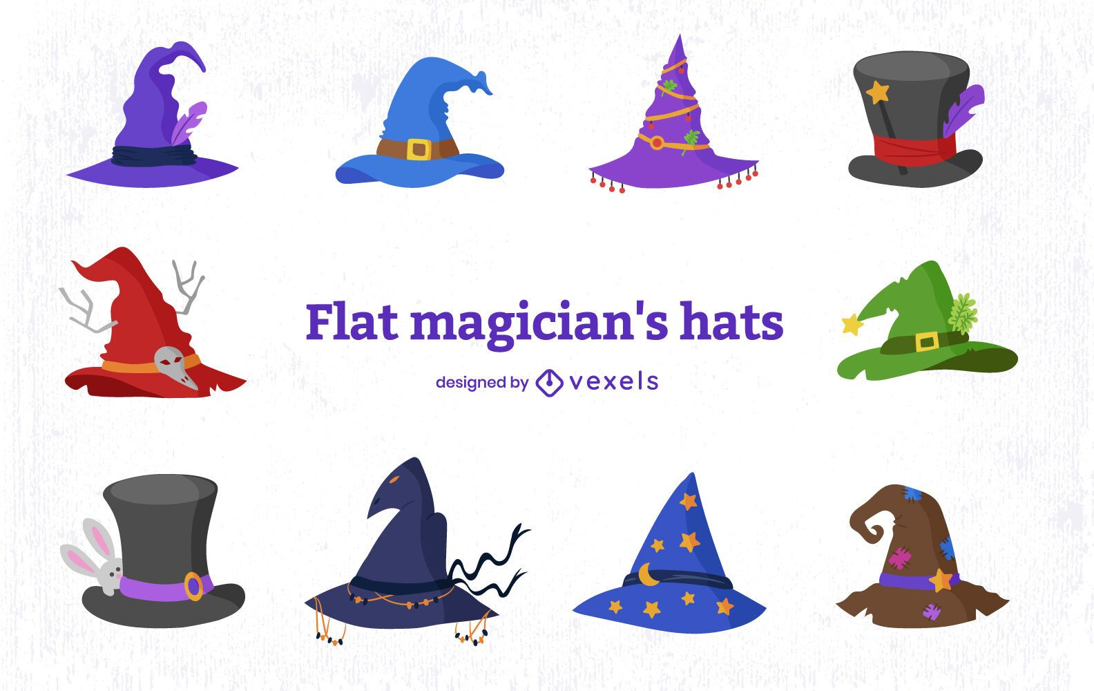 Wizard style magical hat element set