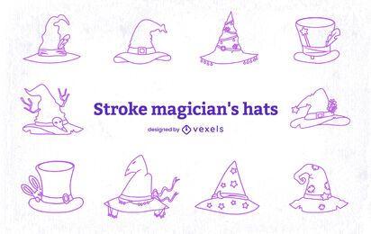 Conjunto de arte em linha de chapéu mágico estilo mago