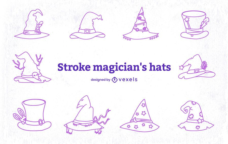 Wizard style magical hat line art set