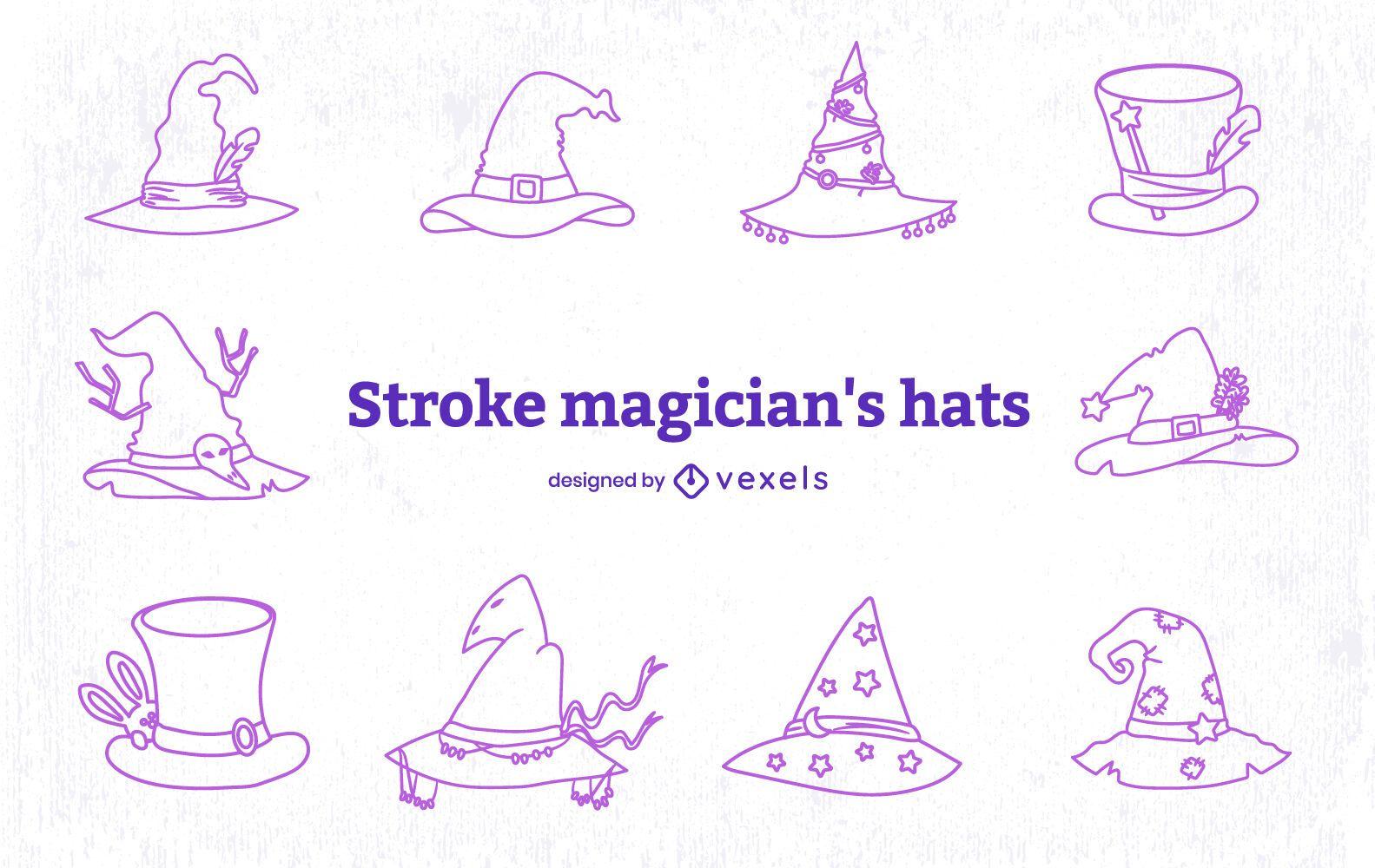 Conjunto de arte de l?nea de sombrero m?gico estilo mago