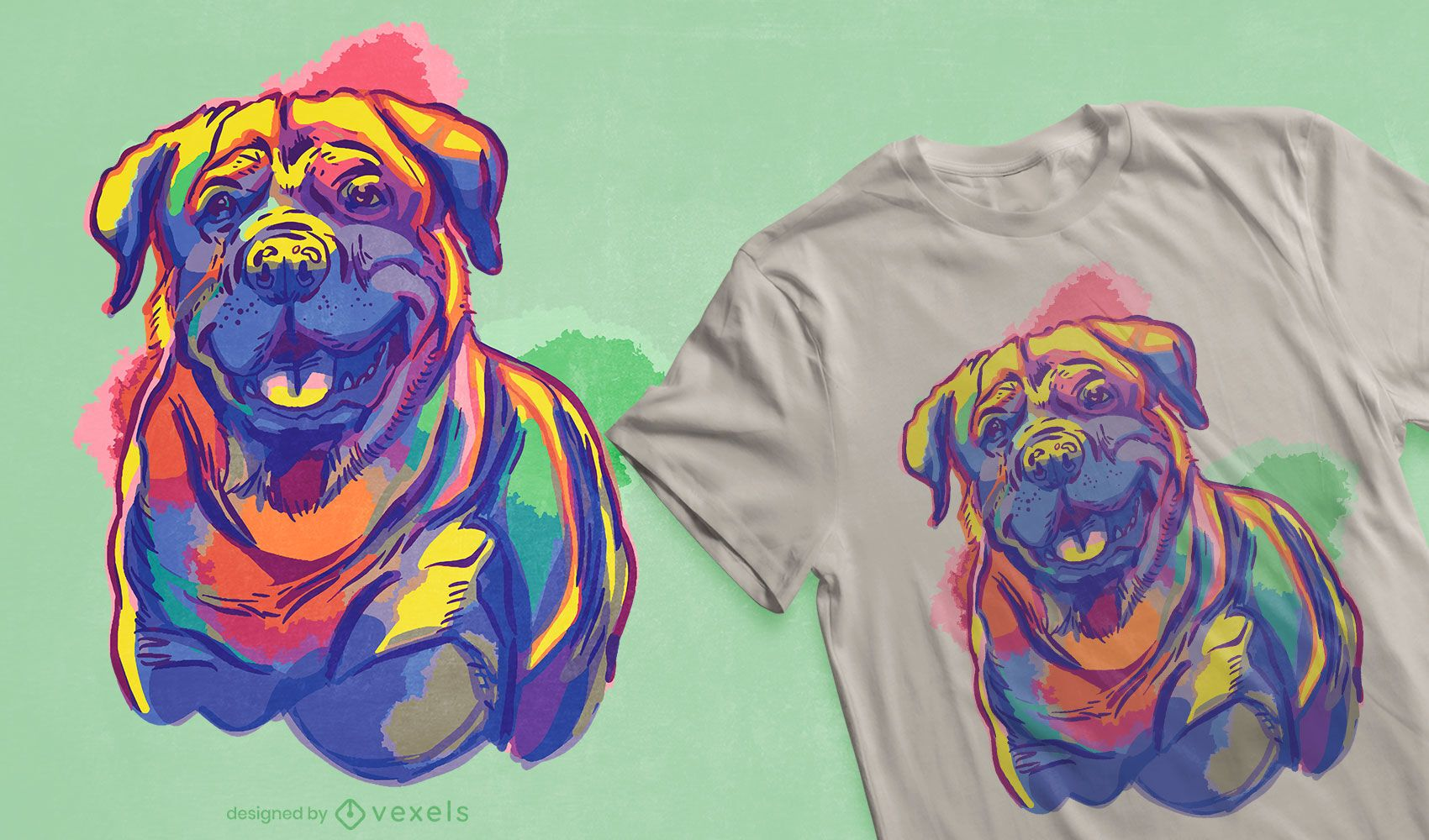 Design de t-shirt Rottweiler para cães em aquarela