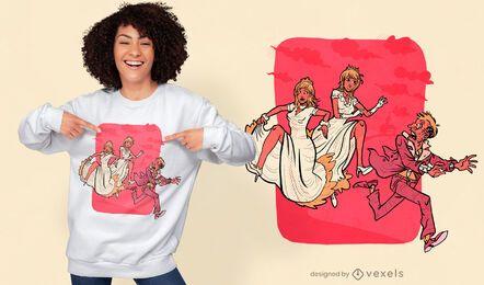 Design de camisetas engraçadas do noivo fugitivo