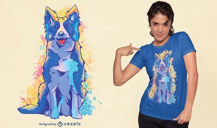 Diseño de camiseta de perro border collie acuarela