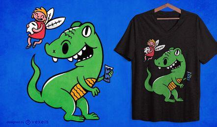 Diseño de camiseta de dibujos animados de hada de los dientes de t-rex