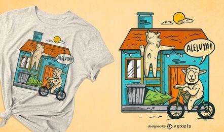 Diseño de camiseta familiar de la casa de las ovejas.