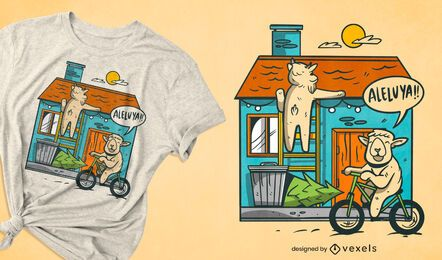 Sheep house family t-shirt design