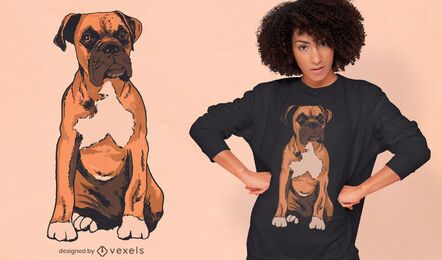 Boxer dog breed realistic t-shirt design