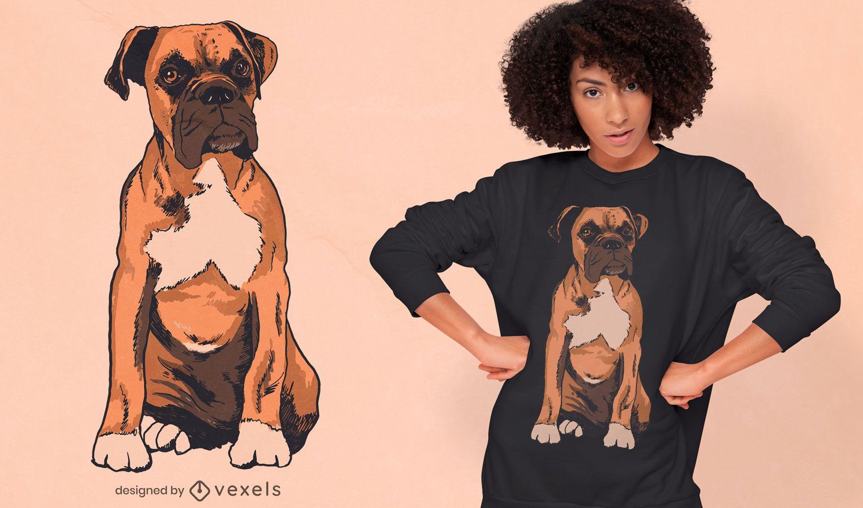 Diseño de camiseta realista de raza de perro boxer.
