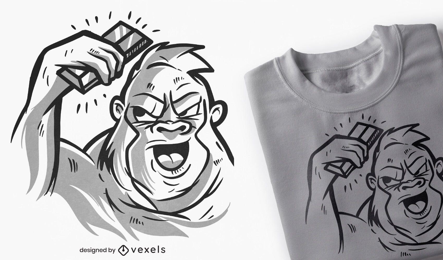 Gorila con diseño de camiseta de barra plateada.