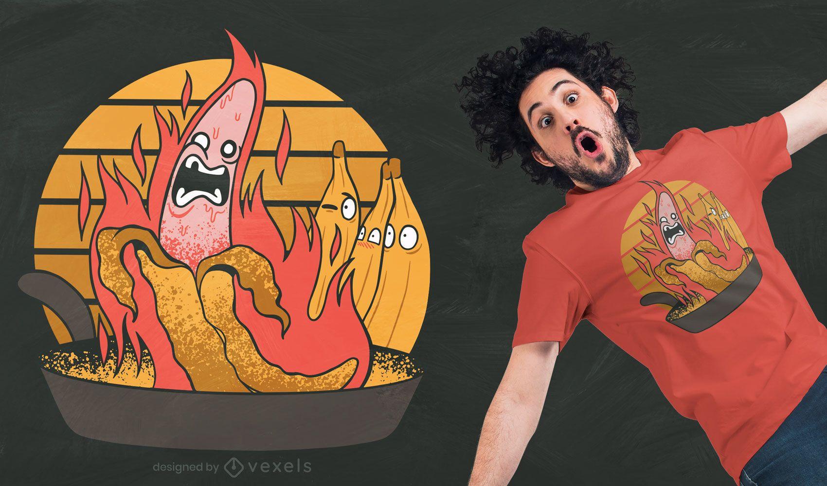 Diseño de camiseta de cocina banana on fire
