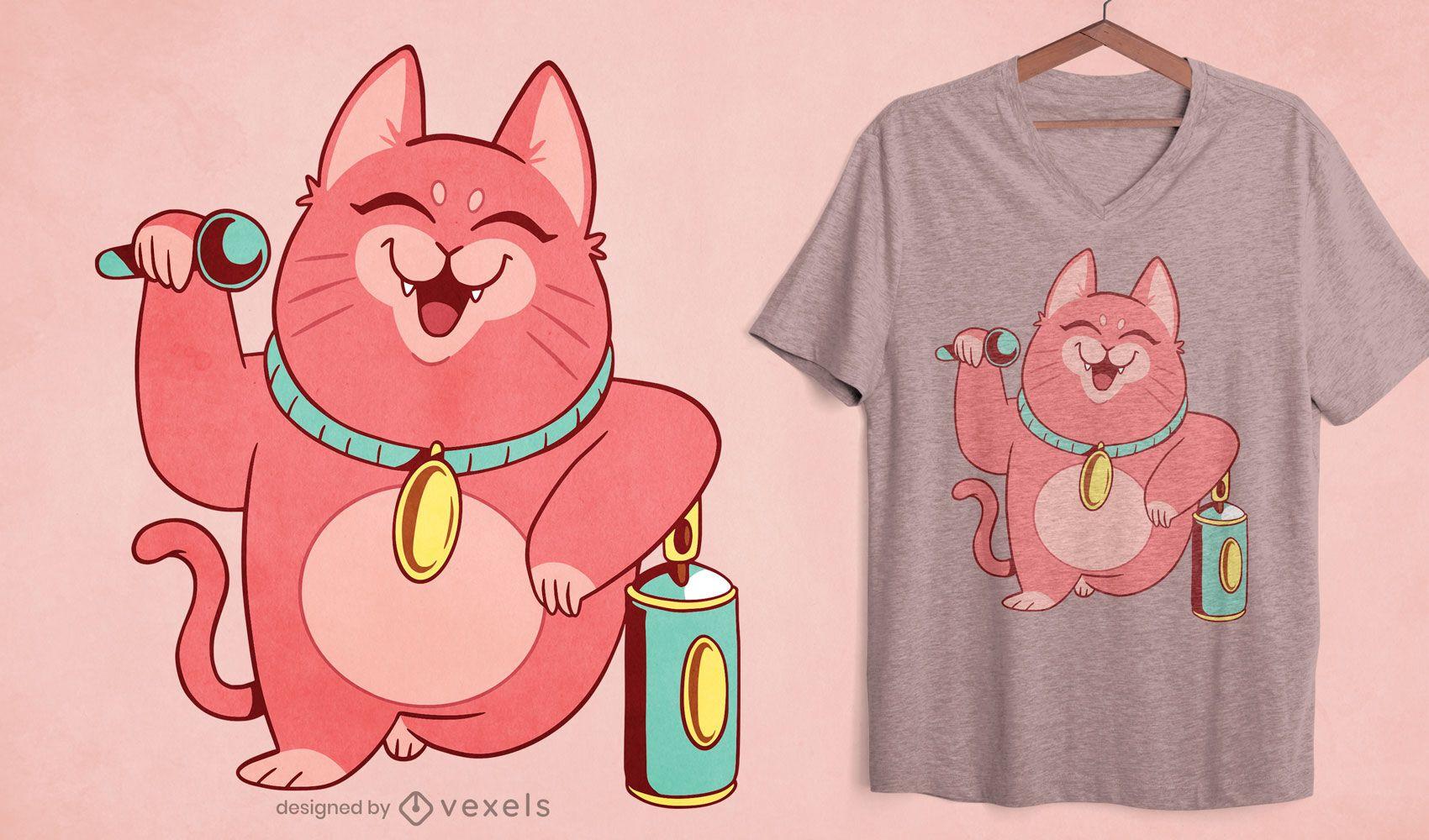 Happy cat cartoon singing t-shirt design