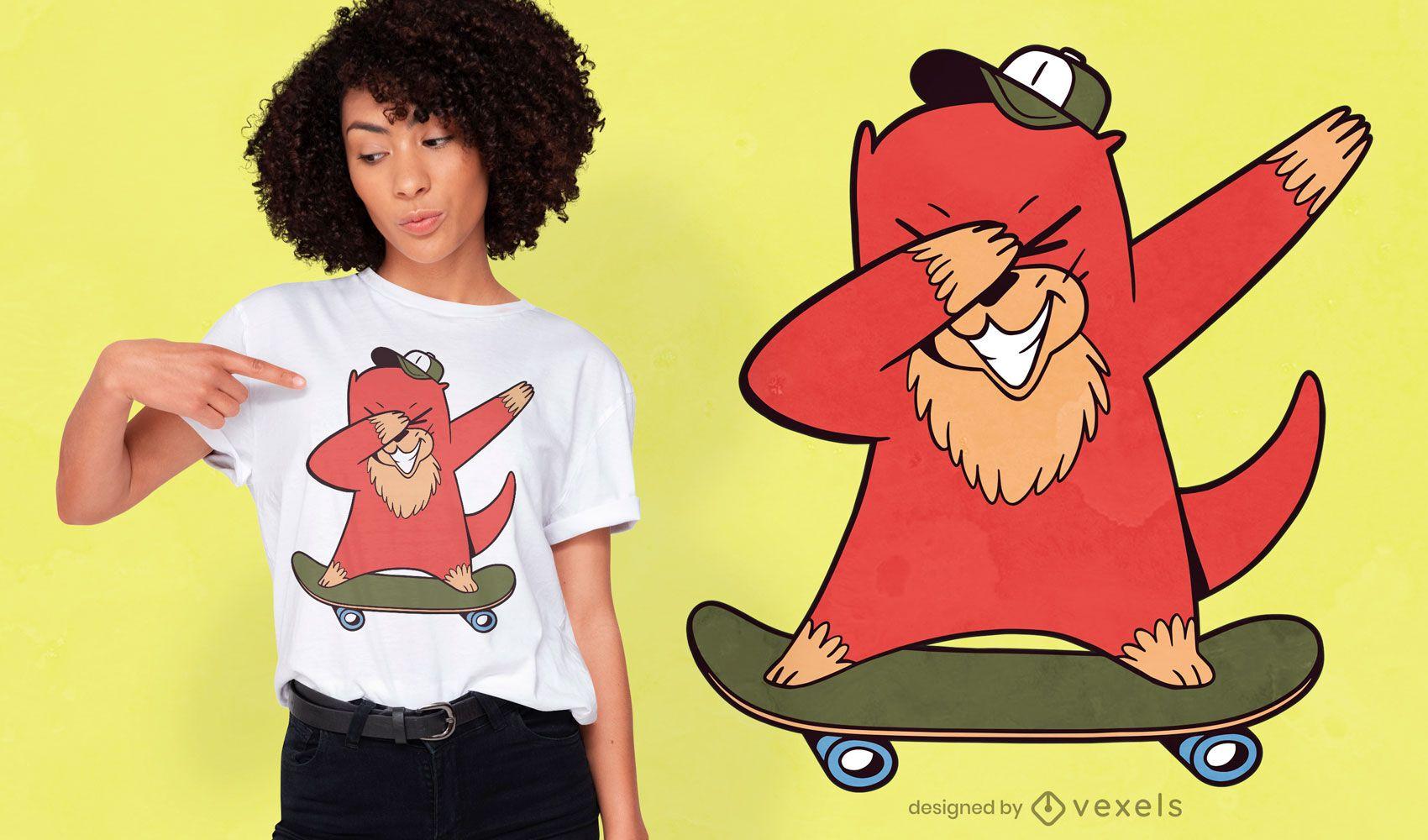 Desenho de t-shirt com desenho animado de lontra