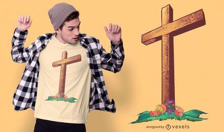 Diseño de camiseta de cruz de madera cristiana.