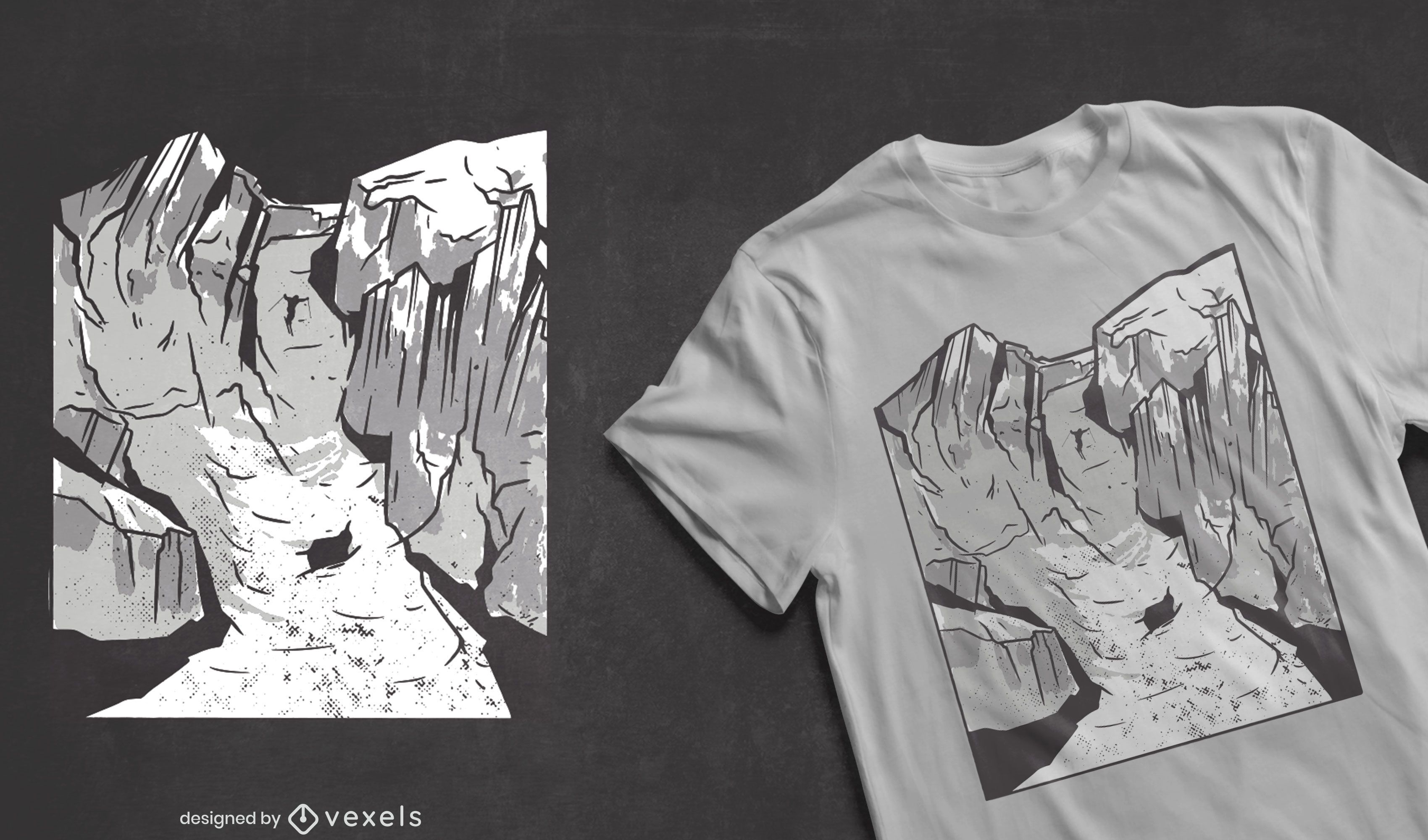 Diseño de camiseta de deporte de montaña de esquí.