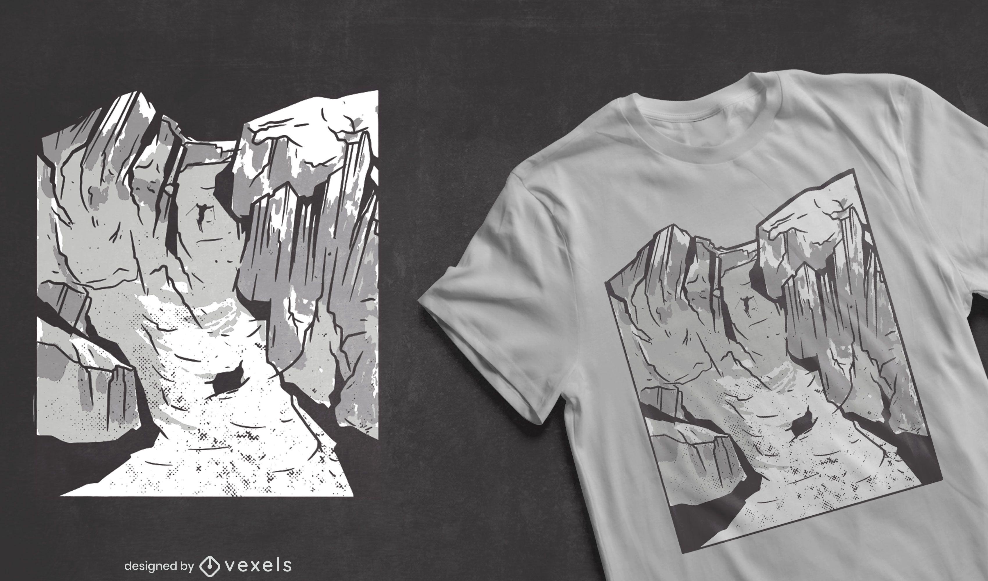 Skiing mountain sport t-shirt design