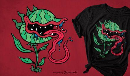Fleischfressende Pflanzenkarikatur-T-Shirt Design