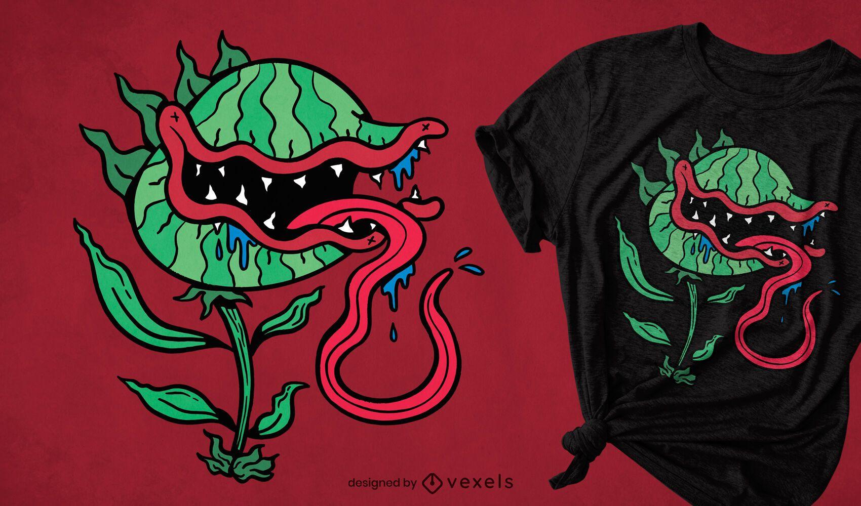 Diseño de camiseta de dibujos animados de plantas carnívoras.