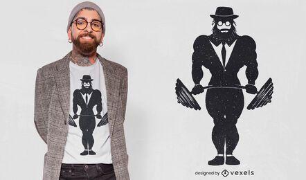 Diseño de camiseta de hombre judío de levantamiento de pesas.