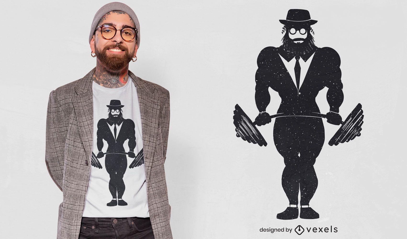 Weightlifting jewish man t-shirt design