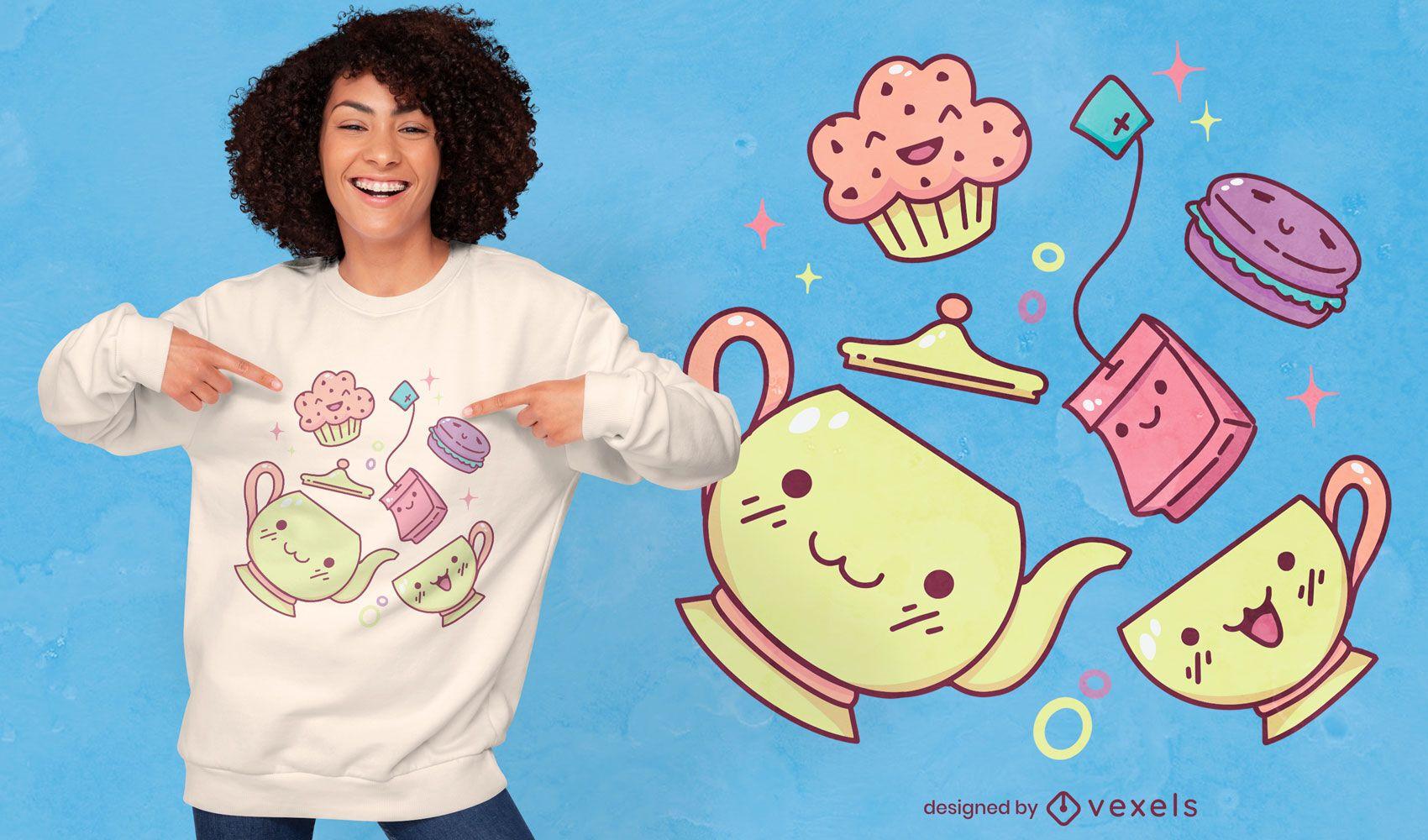 Diseño lindo de la camiseta de los elementos de la fiesta del té