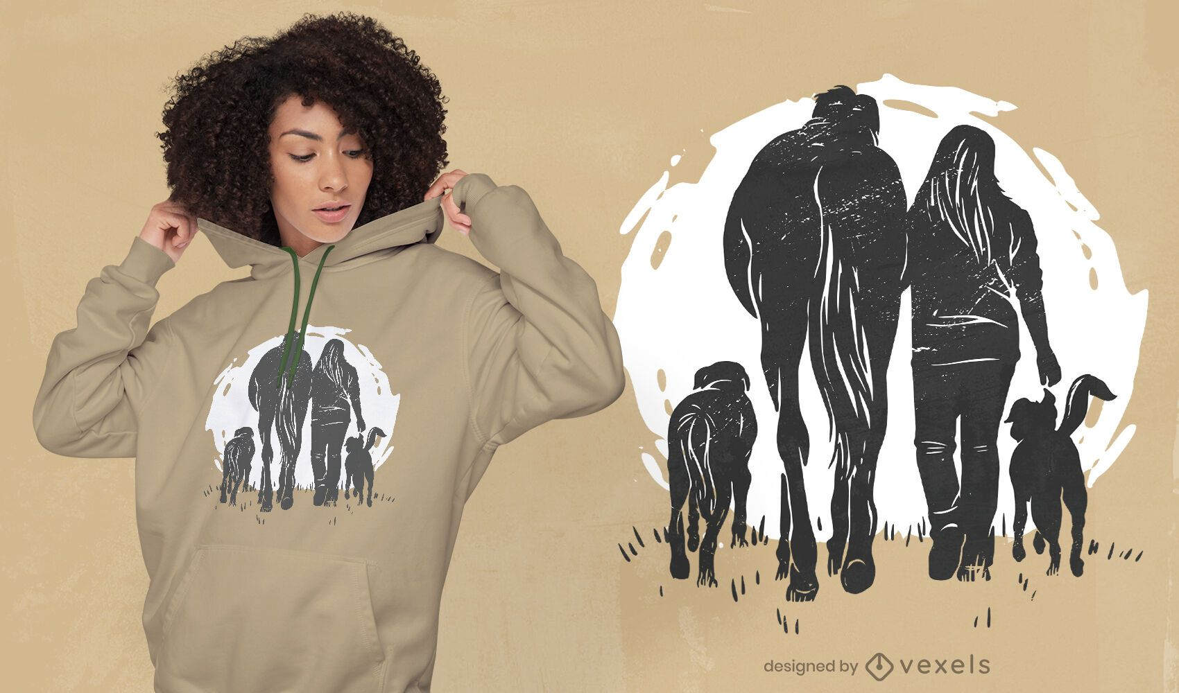 Woman with horse t-shirt design