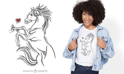 Desenho de camiseta de cavalo tocando a mão