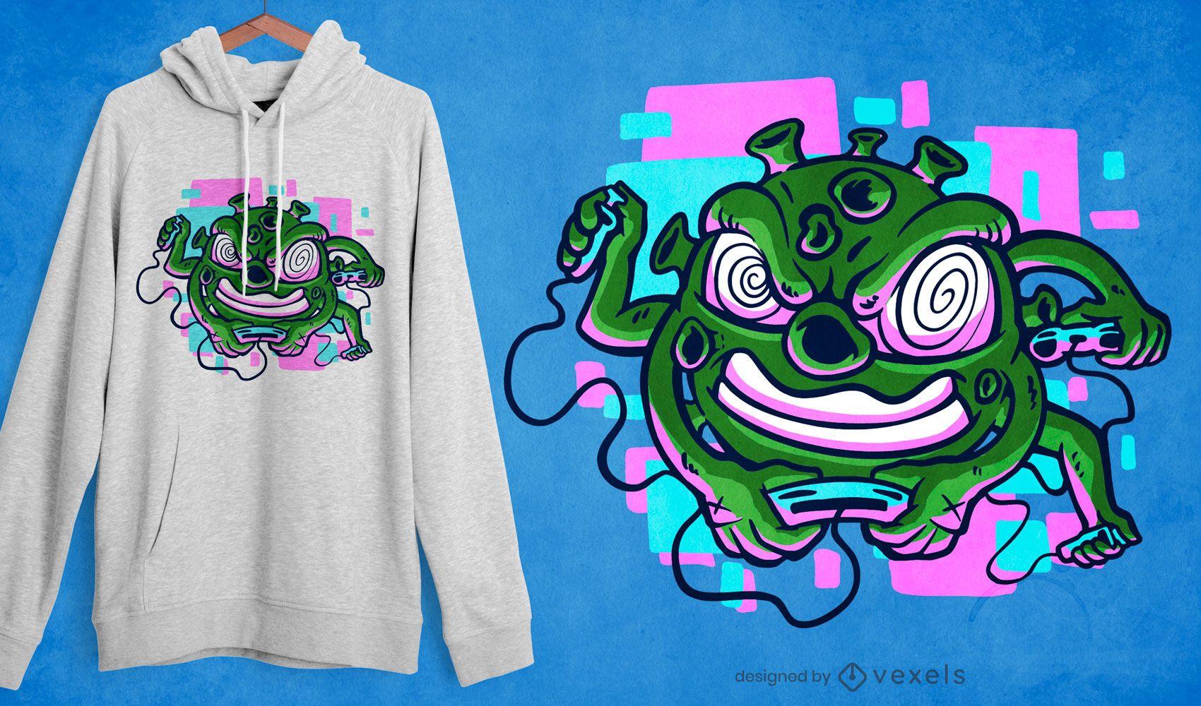 Coronavirus gaming t-shirt design