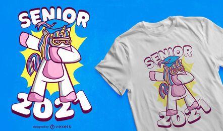 Diseño de camiseta de unicornio de graduación.