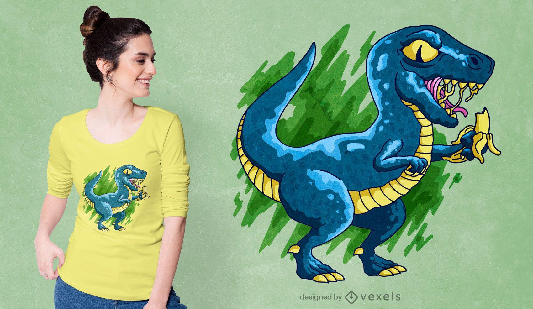 Dinosaur eating banana t-shirt design