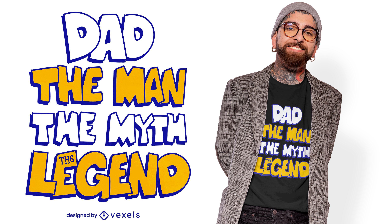 Diseño de camiseta papá la leyenda