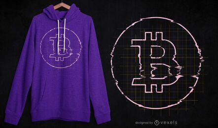 Diseño de camiseta Glitch bitcoin