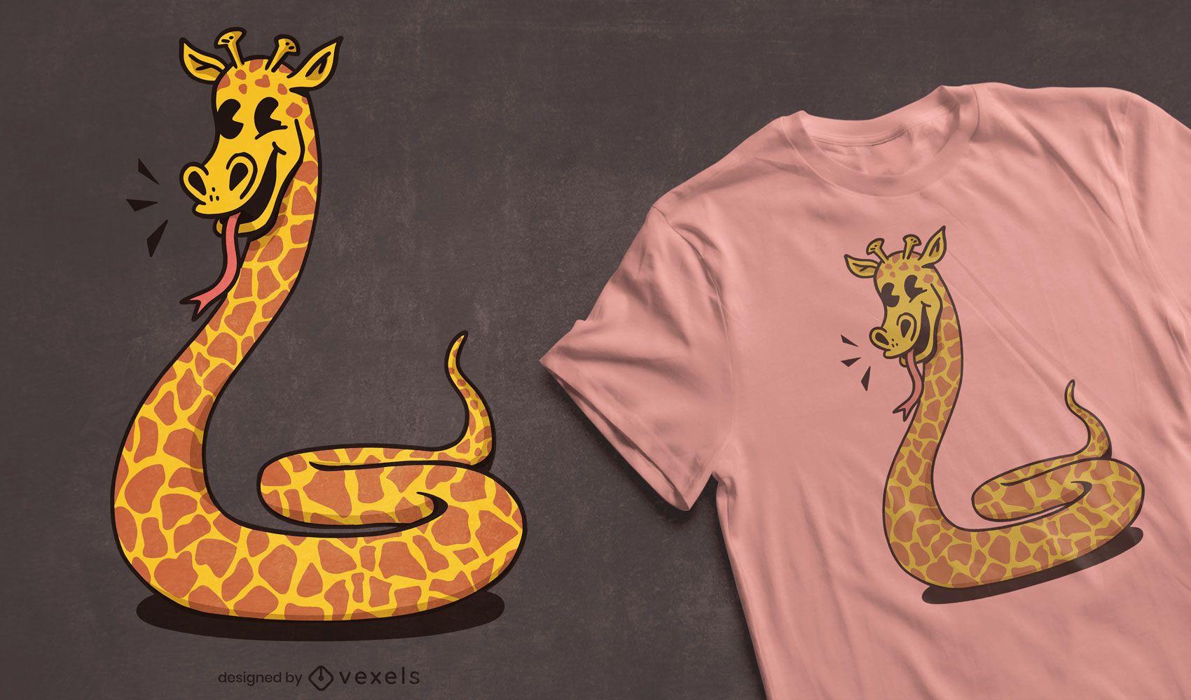 Design de camiseta de girafa cobra