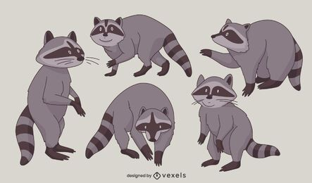 Raccoon animal poses character set