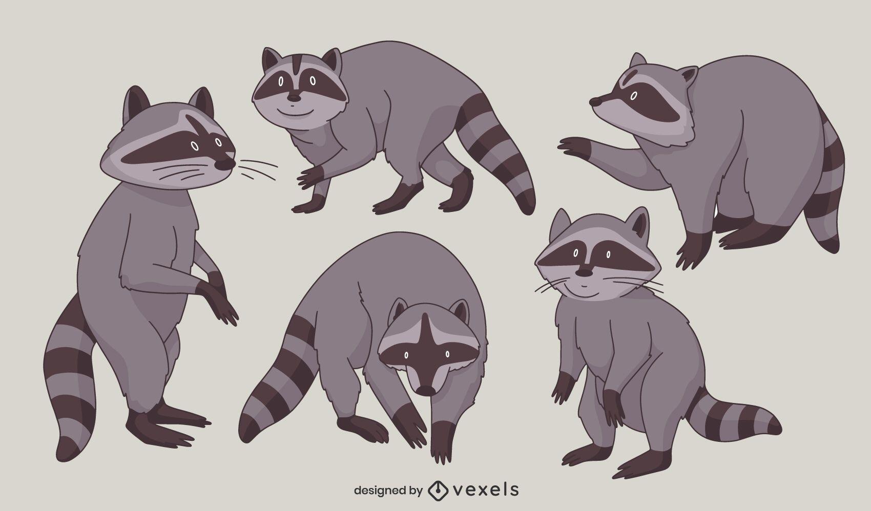 Conjunto de caracteres de poses de animales de mapache